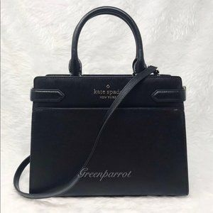 Kate spade staci medium satchel black leather bag